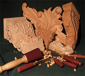 woodcarvings for kitchens, and custom furniture, furniture, bar furniture, fireplace mantels, interior designers, home builders, architects, art museums, gothic art, casinos, bars, arches, staircase spindles
